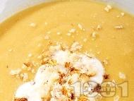 Бадемова крем супа с червена леща, картофи и течна готварска сметана